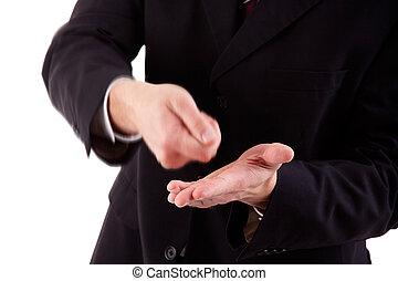 colpo, pagamento, dettaglio, isolato, studio, fabbricazione, uomo affari, bianco, gesto
