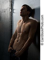 colpo, parete, shirtless, contro, muscolare, uomo, pavimentato