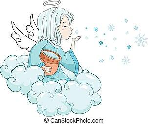 colpo, ragazza, angelo neve, capretto