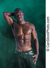 colpo, shirtless, giovane, muscolare, nero, studio, uomo