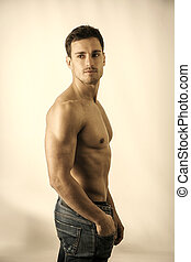 colpo, shirtless, muscolare, studio, bello, uomo