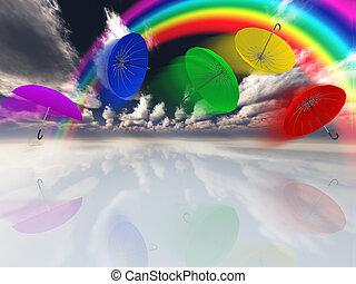 colpo, surreale, umbreallas, paesaggio