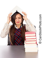 colpo testa, seduta, infelice, libro, studio, studente