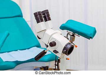 colposcope, そして, 椅子, 中に, ∥, 婦人科, オフィス。, 選択的な 焦点