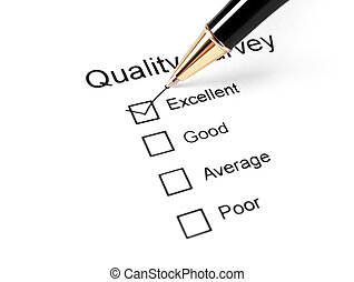 quality survey questionnaire and pen - colse up of quality...