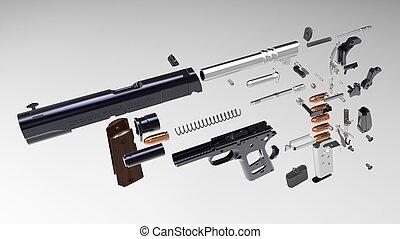3D render of Colt 1911-A1 Model Goverment Pistol
