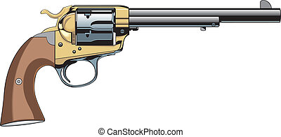 colt - old gun isolated on the white background