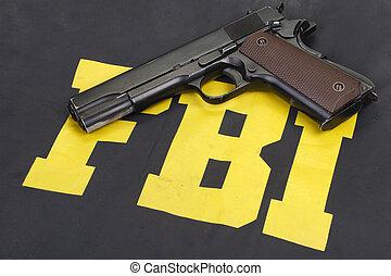 colt government m1911 handgun on fbi uniform