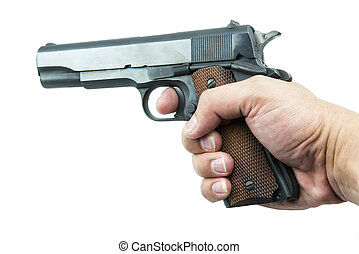 Colt Mark IV series80 government m1911 in hand isolated a...