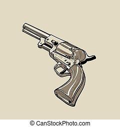 Colt Model 1848 Dragoon. Revolver. Digital sketch hand...