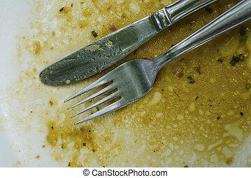 coltelleria, cena, su, piastra