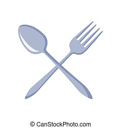 coltelleria, cucina, attraversato, forchetta, e, cucchiaio