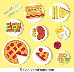 coltelleria, delizioso, fastfood, picnic, estate