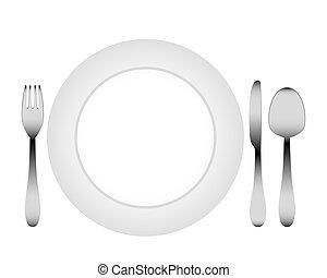 coltelleria, e, uno, piastra bianca