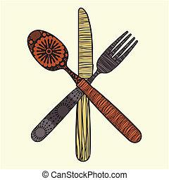 coltelleria, -, forchetta, cucchiaio, coltello