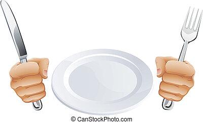 coltelleria, mani, piatto tiene