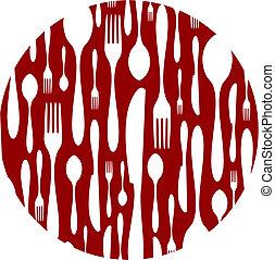 coltelleria, modello, fondo, rosso