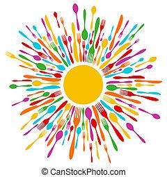 coltelleria, ristorante, fondo, in, vibrante, colori