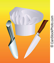 coltelli, cappello chef, due
