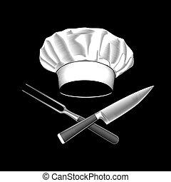 coltello, chef, attraversato, cappello, fork.