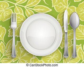 coltello, forchetta, cucchiaio, piastra