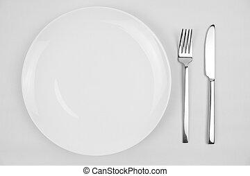 coltello, forchetta, e, piastra