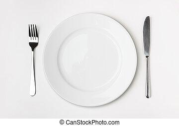 coltello, forchetta, e, piastra, su, tavola.