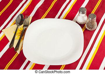coltello, piastra bianca, e, forchetta