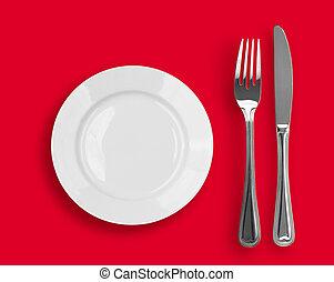 coltello, piastra bianca, e, forchetta, su, sfondo rosso