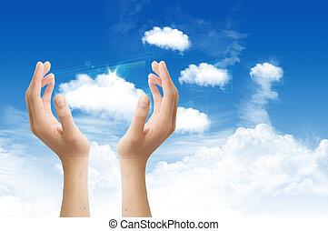 colud, 計算, 概念, 上, the, 藍色的天空