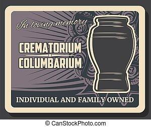 columbarium, サービス, crematorium, 葬式, 壷