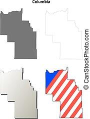 Columbia County, Washington outline map set
