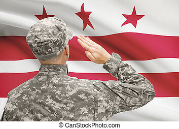 columbia, distretto, serie, -, stato, ci, soldato, bandiera,...