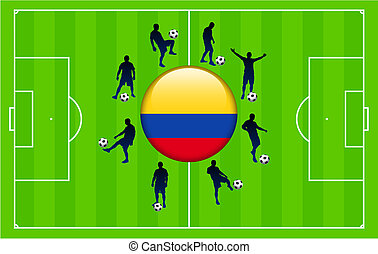 Columbia Flag Icon Internet Button with Soccer Match