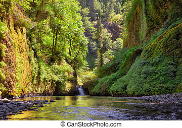 Columbia Gorge Waterfall in Summer - Waterfall along Eagle ...