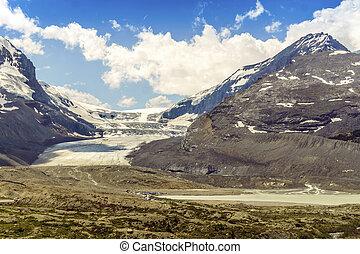 columbia, icefield, e, sunwapta, lago, in, jasper parco nazionale, alberta, canada