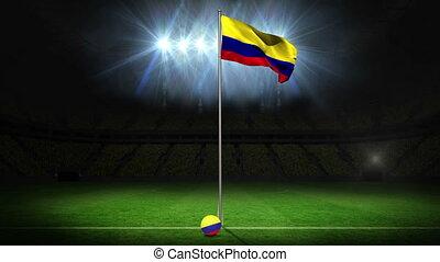 Columbia national flag waving on flagpole on football pitch...