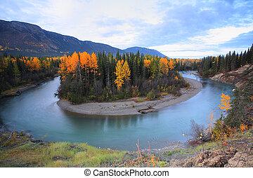 columbia, norte, britânico, outono, cores, ao longo, rio