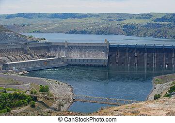 columbia, represa, cima, hidroelétrico, costas, grande, rio