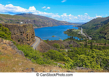 Columbia river. A beautiful view from panaroma view point. ...