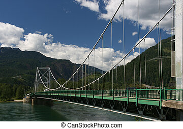 Columbia River bridge in Revelstoke. Rocky Mountains...