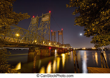 Columbia River Crossing Interstate Bridge at Night
