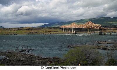 Columbia River Flows Under The Dalles Bridge Oregon State -...