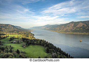 Columbia River Gorge, Oregon - View of Columbia River Gorge...