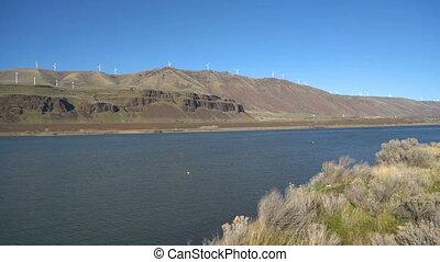Columbia River Wind Turbines Washington Oregon Gorge - Pan...
