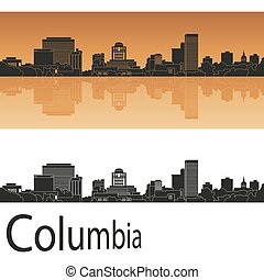 Columbia skyline in orange background in editable vector...
