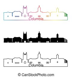 Columbia skyline linear style with rainbow.eps