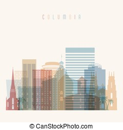Columbia state South Carolina skyline detailed silhouette.