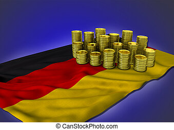 Columbian economy concept with national flag and golden coins