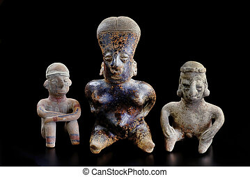 columbian, pre, figurines., 粘土